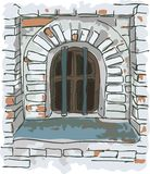 Venster met staven in de oude gevangenis. Stock Foto's