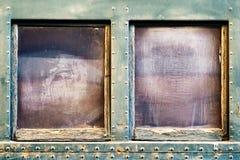Venster op oude treinpersonenauto royalty-vrije stock afbeeldingen