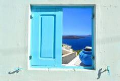 Venster in schoonheid van Griekenland - Santorini Royalty-vrije Stock Foto's