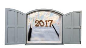 Venster tot 2017 met grassenbloem Royalty-vrije Stock Afbeeldingen