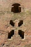 Venster van de rots-gehouwen kerk, Lalibela, Ethiopië De Plaats van de Erfenis van de Wereld van Unesco stock afbeeldingen