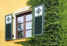 Venster van een mooi hersteld die huis, met klimop wordt overwoekerd Stock Foto