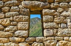 Vensterlandschap in Machu Picchu, Cusco, Peru royalty-vrije stock afbeeldingen