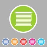 Vensterluifels, plissé, jaloezie, zonneblinden, horizontale broodjes, verticaal, symbolen, pictogrammen Stock Foto's