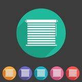 Vensterluifels, plissé, jaloezie, zonneblinden, horizontale broodjes, verticaal, symbolen, pictogrammen Stock Afbeeldingen