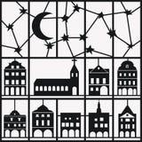 Venstermening van nachthemel en huis op witte achtergrond Vector Illustratie