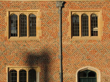 Vensters bij zonsondergang, het Paleis van het Hampton Court Stock Foto's