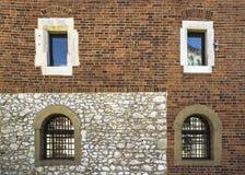 Vensters in de oude bouw Stock Afbeelding
