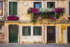 Vensters en deuren in een oud die huis met bloem wordt verfraaid Stock Fotografie