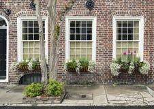 Vensters en van vensterdozen de versieringen van plantersvertoningen verbeteren architectuur royalty-vrije stock fotografie