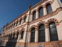 Vensters op de voorgevel van Milan Natural History Museum Stock Foto