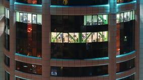Vensters van bureaus in commercieel centrum stock video