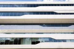 Vensters van commercieel die centrum door het project van Zaha Hadid worden gebouwd De toekomst is hier Royalty-vrije Stock Afbeelding