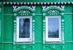 Vensters van een typisch huis in Suzdal Royalty-vrije Stock Foto's