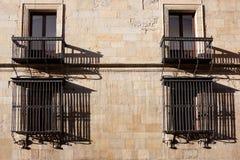 Vensters van het paleis Guzmanes Stock Afbeeldingen