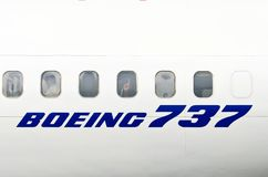 Vensters van het witte vliegtuig Boeing 737 Rusland moskou 03 juli 2013 Royalty-vrije Stock Foto