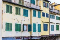 Vensters van winkels op de Brug van Ponte Vecchio in Florence Royalty-vrije Stock Fotografie