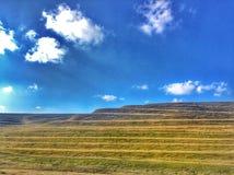 Vensters xp blauwe hemel en een groen gelaagd gebied royalty-vrije stock afbeeldingen