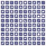100 vensterspictogrammen geplaatst grunge saffier Royalty-vrije Stock Afbeelding