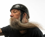 Vent dans sa barbe Photographie stock libre de droits
