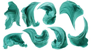 Vent débordant de tissu de tissu, mouvement de vol de vague de textile, blanc Images stock