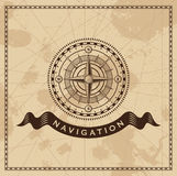 Vent Rose Nautical Compass de vintage Images libres de droits