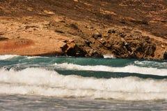 Vent violent de mer Égée de Prasonisi Photographie stock