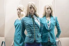 Venta al por menor de las compras de la exhibición del escaparate del maniquí de la moda Foto de archivo libre de regalías