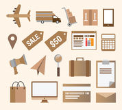 Venta al por menor y transporte del negocio Imagen de archivo libre de regalías