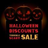 Venta asustadiza de la calabaza de Halloween Fotos de archivo libres de regalías