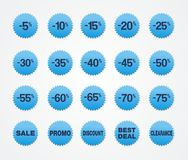 Venta azul de la etiqueta engomada Imágenes de archivo libres de regalías