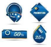 Venta azul de la promoción de la etiqueta Imágenes de archivo libres de regalías
