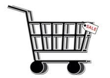 VENTA - carro de compras con la etiqueta de la venta Fotografía de archivo libre de regalías