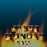 Venta cibernética caliente ardiente de lunes Cartel promocional de la bandera del márketing Modelo del diseño Imagen de archivo libre de regalías