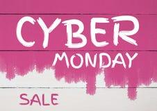Venta cibernética de lunes en la pared pintada rosa libre illustration