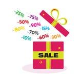 Venta Compras Caja de regalo abierta con diversos descuentos Ilustraci?n del vector stock de ilustración