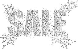 Venta Concentre el negro aislado wireframe polivinílico bajo en el fondo blanco Papiroflexia abstracta de la línea y del punto de Stock de ilustración