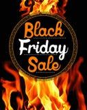 Venta de Black Friday en fondo llameante Fotografía de archivo libre de regalías