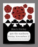 Venta de Black Friday en la bandera del país de las maravillas, tarjeta Foto de archivo