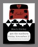 Venta de Black Friday en la bandera del país de las maravillas, tarjeta, folleto - joyería Fotografía de archivo libre de regalías