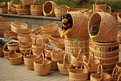 Venta de cestas Fotografía de archivo