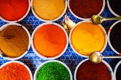 Venta de especias en los mercados de Goa y de otros estados foto de archivo libre de regalías