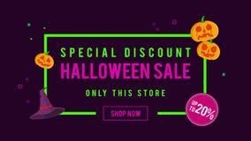 Venta de Halloween del descuento especial hasta la animación 20 stock de ilustración