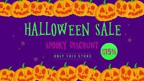 Venta de Halloween hasta 15 con la animación de la calabaza ilustración del vector