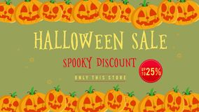 Venta de Halloween hasta 25 con la animación de la calabaza stock de ilustración