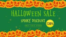Venta de Halloween hasta 30 con la animación de la calabaza libre illustration