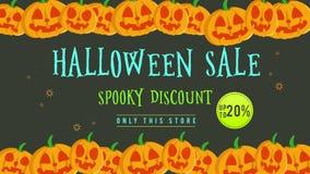 Venta de Halloween hasta 20 con la animación de la calabaza stock de ilustración