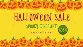 Venta de Halloween hasta 35 con la animación de la calabaza libre illustration