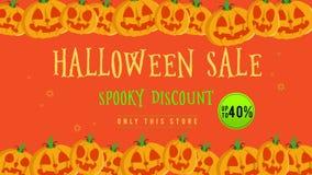 Venta de Halloween hasta 40 con la animación de la calabaza stock de ilustración