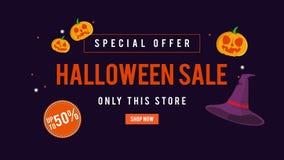 Venta de Halloween de la oferta especial solamente esta tienda hasta la animación 50 stock de ilustración